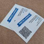 tarjeta de visita impresa en papel reciclado